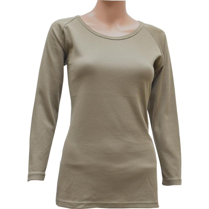 Women's Crew Neck Top, Mid-Weight, Coyote / Tan499 - Click Image to Close