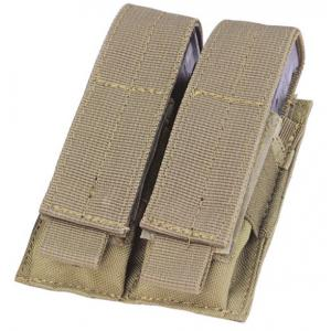 9MM double pocket ammo pouch, Velcro flap cover, Coyote