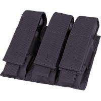 9MM Triple pocket ammo pouch, Velcro flap cover, Black