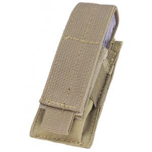 9MM single pocket ammo pouch, Velcro flap cover, Coyote
